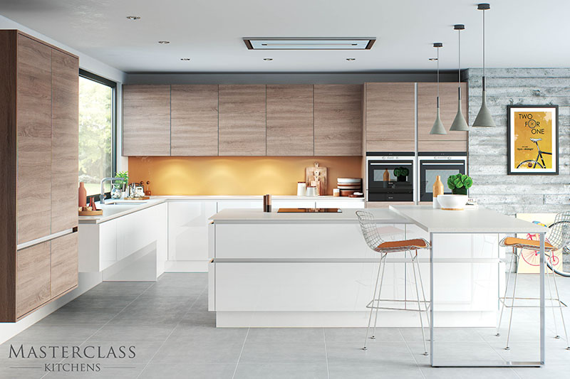 MASTERCLASS KITCHENS BY RUSS DEACON |Sierra H-Line – Bardalino Oak/Lumina H Line – White gloss